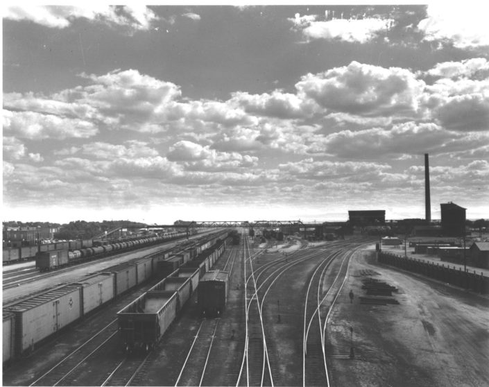 the trainyard in Laramie, Wyoming